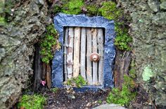 diy fairy door: took a miniature stone photo frame and removed the back and glass, hot-glued twigs to the back of the frame, hot-glued a top from a broken laser pointer onto the front as a door handle (you could use anything) and then placed it in the crook at the base of a tree, stuffed twigs, moss and mulch around the edges and--voila--a fairy door : )
