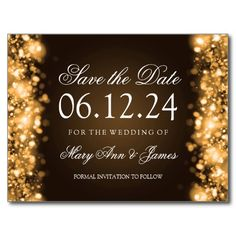 #Elegant #wedding Save The Date Sparkling Lights #Gold Post Card #glitter #sparkle #confetti #goldleaf #stars #midnight #bokeh