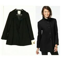 New w Tags Larry Levine Wool Coat Size XS Brand new, all tags intact, color black, size XS.  Larry Levine's chic wool-blend coat boasts a stand collar that keeps the look buttoned up to perfection! Stand collar Button closures at front Long sleeves Slit pockets at hips Mid-weight Lined Hits at hip; approx. 30 inches long Shell: Wool/polyester/viscose; Body Lining: Polyester Dry clean Imported Larry Levine Jackets & Coats Pea Coats