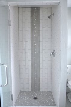 Vertical subway tile shower stall, with waterfall accent. Capiz shell tile