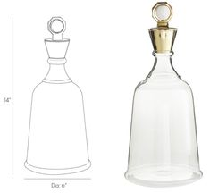 decanter made of clear glass with quartz nugget stopper that fits inside a brass ring; available at InvitingHome.com