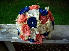 Coral and navy wedding flowers navy blue and coral bouquet rustic bridal bouquet rustic . coral and navy wedding flowers Rustic Bridal Bouquets, Rustic Bouquet, Wedding Bouquets, Rustic Wedding Games, Rustic Wedding Showers, Wedding Ideas, Coral Wedding Flowers, Prom Flowers, Burgundy Bouquet