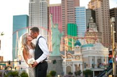 Epic wedding photo on the Las Vegas Strip. Lifestyle wedding photography and photojournalism really capture the love.