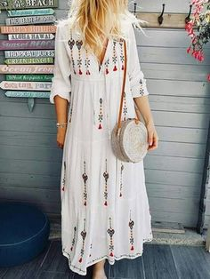 New Boho Floral Print Long Sleeve Plus Size Long Maxi Dress - Power Day Sale Shift Dresses, Day Dresses, Casual Dresses, Summer Dresses, Floral Dresses, Dresses Online, Ladies Dresses, Vacation Dresses, Cheap Dresses