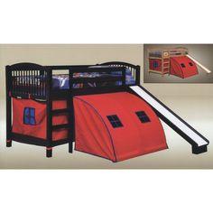 Junior Walnut Wood Kids Twin Loft Bunk Bed with Red Pop Tent Slide