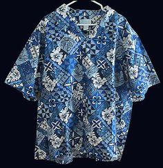 Hawaii Aloha Shirt Blue Tapa Kolekole 3XL NW