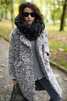 Plaid & textured grey coat