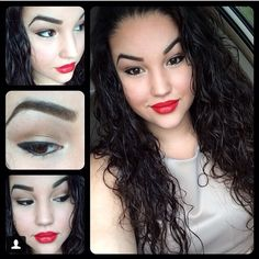 Nude eye makeup with black gel eyeliner and red lipstick