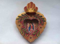 Dos Mujeres Mexican Folk Art - Painted Tin Nicho With Virgin