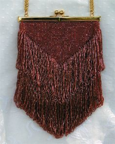Energetic Antique Art Nouveau Gold Filigree Frame Hand Knit Brown Iridescent Bead Purse Periods & Styles
