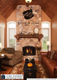 Let nature inspire you. Use natural elements like stone and wood along with colors like brown and beige to make a classy style statement.#tips #home #decor #natural #fireplace #livingroom #stone #carpet