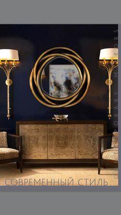 A thought to use flexible tubing to make a mirror decor. Foyer Decor Ideas Decor flexible Gold mirror spray thought tubing House Design, House Styles, Decor, Modern Buffet, Mirror Decor, Interior Design Inspiration, Home, Entryway Decor, Home Decor
