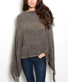 Loving this Gray Fringe Poncho on #zulily! #zulilyfinds