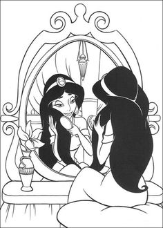 Jasmine Looks In The Mirror Coloring Page Pages For KidsFree Printable
