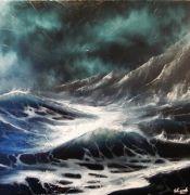 tableau marine tempete mer vague ocean : tempête en mer