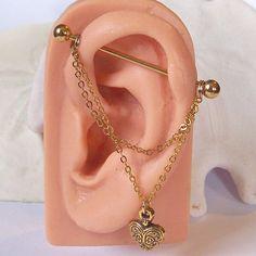 Gouden industriële Barbell gouden ketting met door JeweledNavel