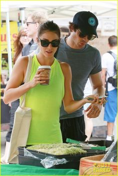 nikki reed & ian somerhalder couple farmers market hug 02 Nikki Reed looks bright in a neon green top at the Farmer's Market on Sunday afternoon (July 20) in Los Angeles.    The 26-year-old actress was joined by Ian Somerhalder…