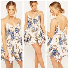 Alyson Slip Dress in Ivory Floral Combo Size M! I sized up so that I could wear this as a dress! Super beachy and flowy. Perfect condition! Free People Dresses