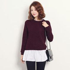 Inset Frilled-Neckline Top Knit Top from #YesStyle <3 Stylementor YesStyle.ca