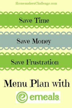 Menu Plan with eMeals at Homemakers Challenge