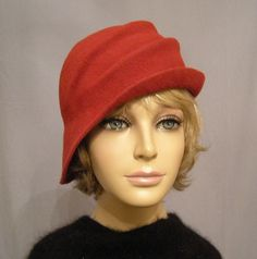 Ava, Wool Felt Cloche with side draped pleats, color Red  $125