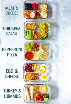 These Healthy Bento Lunch Box Recipes are perfect for back to school and are like adult lunchables! Try pizza, turkey & hummus, egg & cheese and more! Recipes easy Healthy Bento Lunch Box Recipes - 5 Ways - The Girl on Bloor Lunch Box Recipes, Lunch Snacks, Dessert Recipes, Breakfast Recipes, Dinner Recipes, Snacks For Work, Meal Prep Lunch Box, Meal Box, School Lunch Recipes
