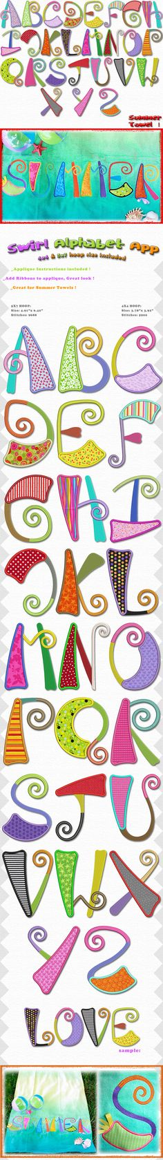 A beautiful set of applique letters, great size and very fun looking, great for summer ! Mix and match fun bright color fabrics, for that unique look ! and hoop sizes included. Thread and Fabric Bundle Available here! Machine Embroidery Applique, Embroidery Fonts, Embroidery Patterns, Hand Embroidery, Doodle Lettering, Creative Lettering, Typography, Patchwork Quilt, Applique Letters