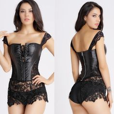 Faux Leather and Lace Burlesque Bustier Corset - Skullflow    https://www.skullflow.com/collections/gothic-clothing/products/faux-leather-lace-bustier-corset