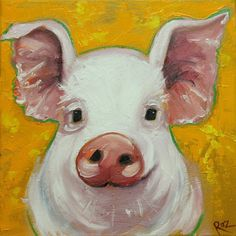 Pig painting 161 12x12 inch original oil painting by Roz by RozArt
