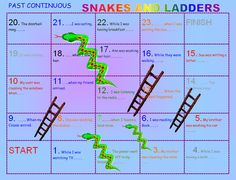 Another Snakes and Ladders but this time to practice Past Continuous. Students have to finish the sentences using their creativity. Sometimes the beginnings of the sentences are gi English Class, English Grammar, Teaching English, The Tenses, Spanish Teacher, The Wiz, Sentences, Board Games, Past