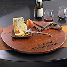 Personalized Wine Barrel Lazy Susan at Wine Enthusiast - $119.95 would look nice with names on it