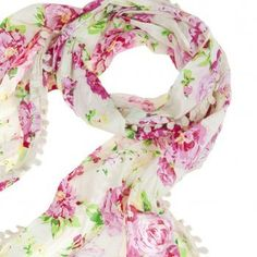Lettuce Boho Pink & Cream Floral Scarf