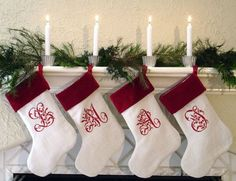 Monogrammed Christmas stockings white red stockings christmas fireplace mantel decoration