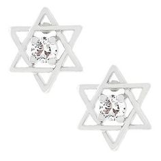 Genuine Rhodium Plated Star of David Cubic Zirconia Earrings with Clear Round Cut Cubic Zirconia in a Star Design Polished into a Lustrous Silvertone Finish
