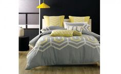 Ralston Grey Yellow Quilt Cover Set by Deco City Living