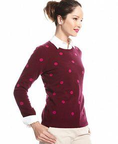 Charter Club Sweater, Long-Sleeve Polka-Dot Crew-Neck Cashmere