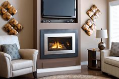 Series shown with Logs, outer Landscape Surround and Painted Nickel Inner Bezel Valor Fireplaces, Fireplace Design, Paint Colors, Logs, Painting, Landscape, Home Decor, Ideas, Paint Colours