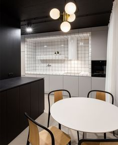 Black Color Look Amazing on Apartment Ceiling Designed by Bogdan Ciocodeica Ceiling Design, Lamp Design, Accent Furniture, Furniture Design, Round Dining Table Sets, Black Coffee Tables, Living Room Arrangements, Composition Design, Kitchen Corner