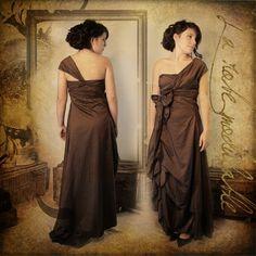 robe de soirée modulable taffetas marron créatrice: Magali René-Boisneuf