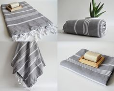 Free Shipment SET 4 Piece Turkish BATH Towel - Classic Peshtemal - Dark Gray. $99.00, via Etsy.