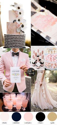 Esquema de color negro y se ruboriza el rosa romántica de la boda de la boda | fabmood.com