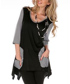 Take a look at this Black & White Colorblock Sidetail Tunic by Lily on #zulily today!