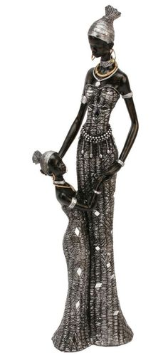 Masai African Lady Mother & Girl Figurine Ornament 40cm Statue in Home, Furniture & DIY, Home Decor, Decorative Ornaments & Figures | eBay