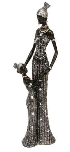 Masai African Lady Mother Girl Figurine Ornament 40cm Statue In Home Furniture Diy