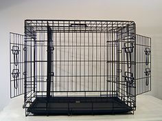 "Everila 42"" Large 3 Door Dog Crate Cat Cage Kennel With Divider Lab Retriever Boxer Poodle (42""L x 28""W x 30""H)"