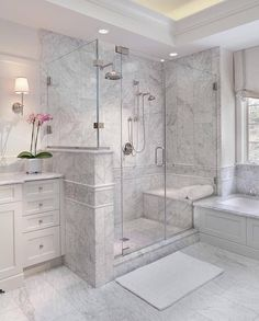 Bathroom a few ideas, bathroom remodel, master bathroom decor and master bathroom organization! Bathrooms could be beautiful too! From claw-foot tubs to shiny fixtures, these are the bathroom that inspire me probably the most. Master Bathroom Shower, Small Bathroom, Bathroom Ideas, Bathroom Organization, Bathroom Showers, Master Bathrooms, Minimal Bathroom, Marble Showers, Basement Bathroom