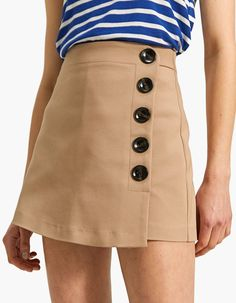 Skort with button details - Skirts & Pinafore Dresses Skort, Jupe Short, Button Skirt, Large Buttons, Pinafore Dress, Rock, Fast Fashion, Couture, Buttons