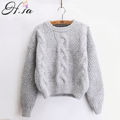 Cheap women sweater, Buy Quality mohair pullover directly from China knitted sweater Suppliers: H.SA Women Sweaters Warm Pullover and Jumpers Crewneck Mohair Pullover Twist Pull Jumpers Autumn 2017 Knitted Sweaters Christmas Pullover Mode, Pullover Sweaters, Jumper, Knit Sweaters, Winter Sweaters, Sweaters For Women, Loose Sweater, Sweater Fashion, Pulls