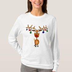 Funny Red Nosed reindeer Christmas Art T-Shirt