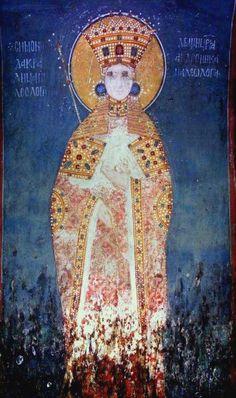 Queen Simonida Palaiologina, wife of king Stephen Uroš II Milutin. Viking Jewelry, Ancient Jewelry, Viking Museum, Fresco, Viking Ship, Medieval Clothing, Travel Design, Wedding Art, 14th Century